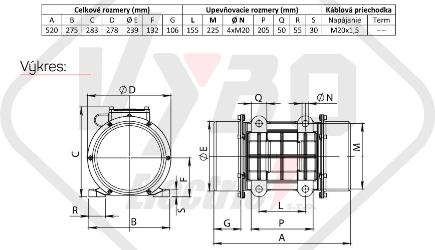 rozměry vibrační elektromotor BM2700-15