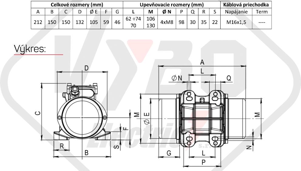 rozměry vibrační elektromotor BM30-15