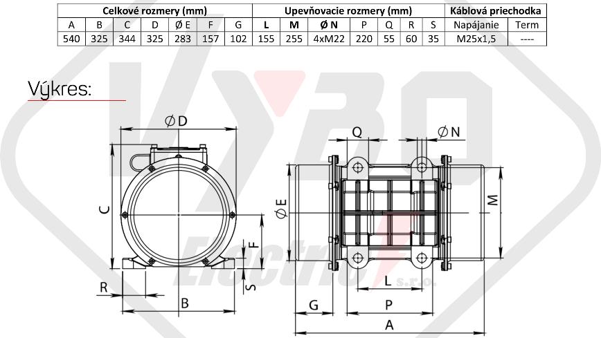 rozměry vibrační elektromotor BM3800-15