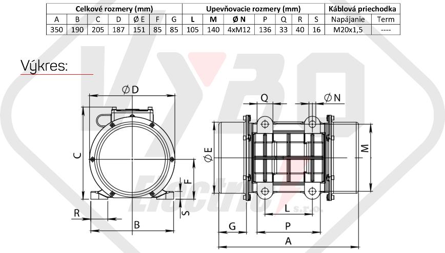 rozměry vibrační elektromotor BM520-15-V