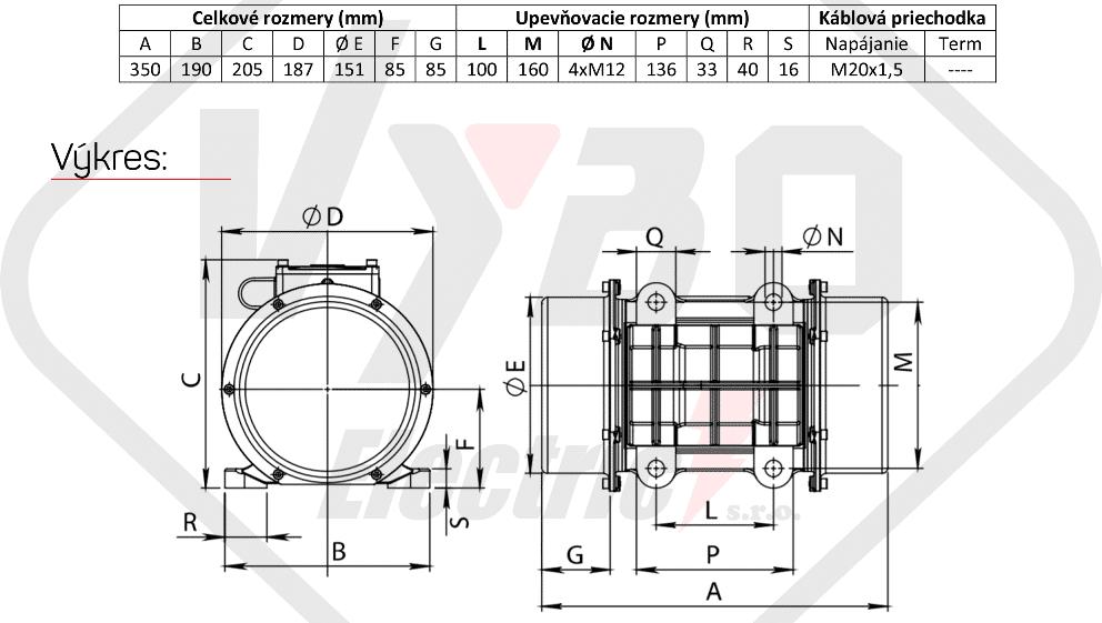 rozměry vibrační elektromotor BM520-15