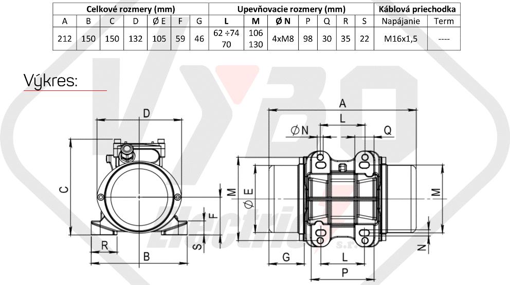 rozměry vibrační elektromotor BM60-15