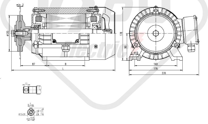 rozměrový výkres pilový elektromotor KRM 90LX-4