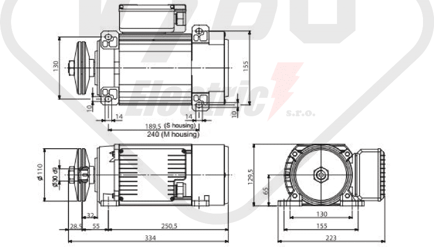 rozměrový výkres pilový elektromotor MR65 M1SC-2