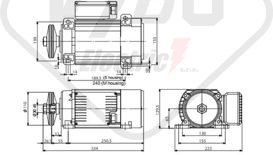 rozměrový výkres pilový elektromotor MR65 T1MA-2