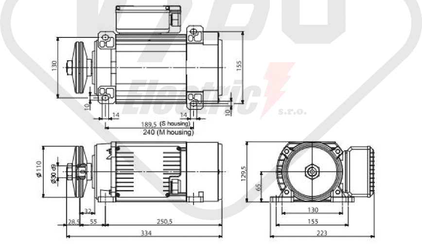rozměrový výkres pilový elektromotor MR65 T1SC-2