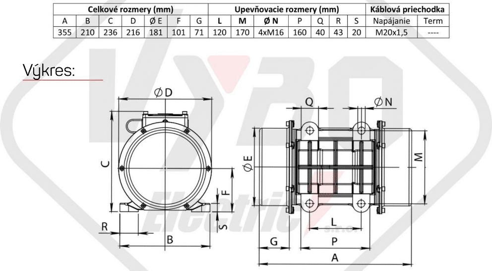 rozměry vibrační elektromotor BM1100-3