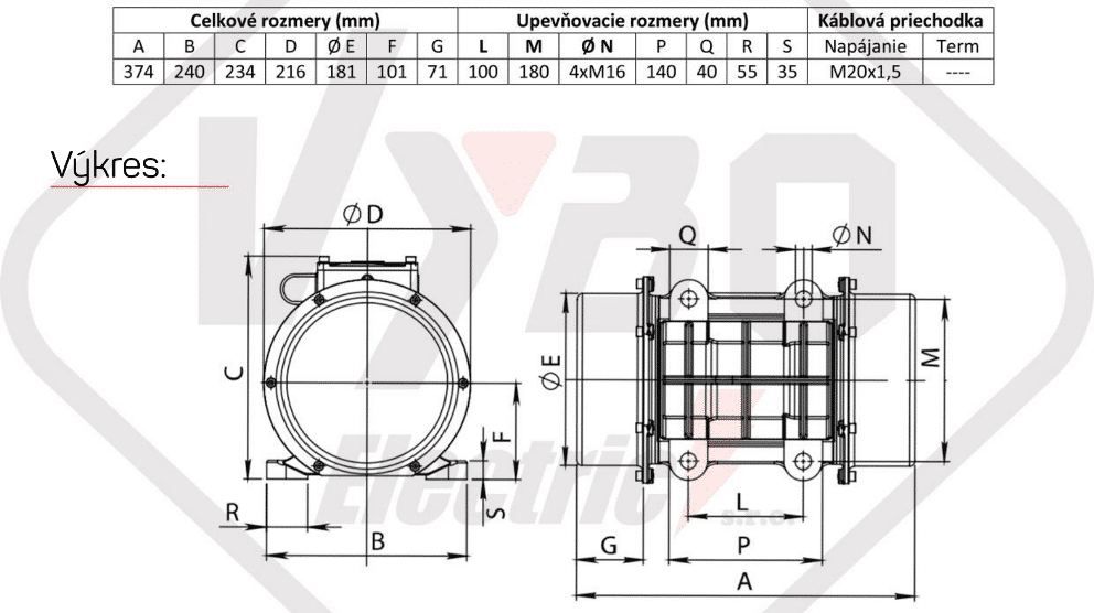 rozměry vibrační elektromotor BM1400-3