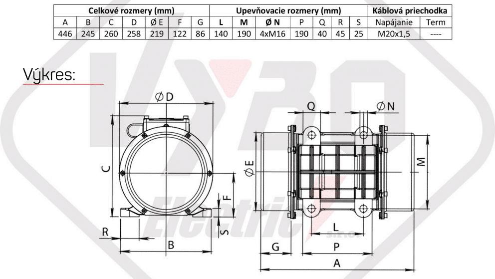 rozměry vibrační elektromotor BM1600-3