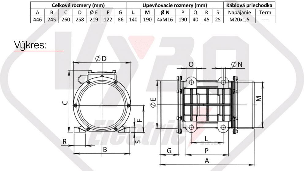 rozměry vibrační elektromotor BM2000-3