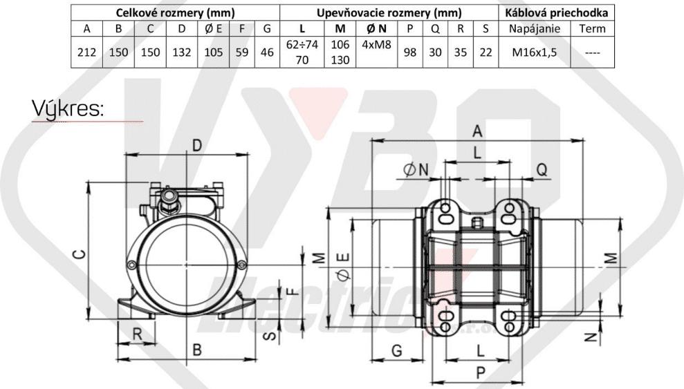 rozměry vibrační elektromotor BM65-13