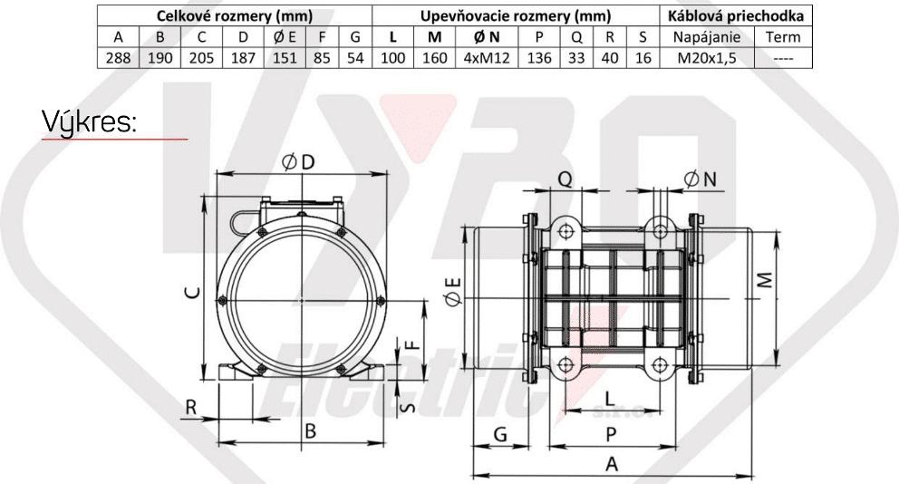 rozměry vibrační elektromotor BM650-3