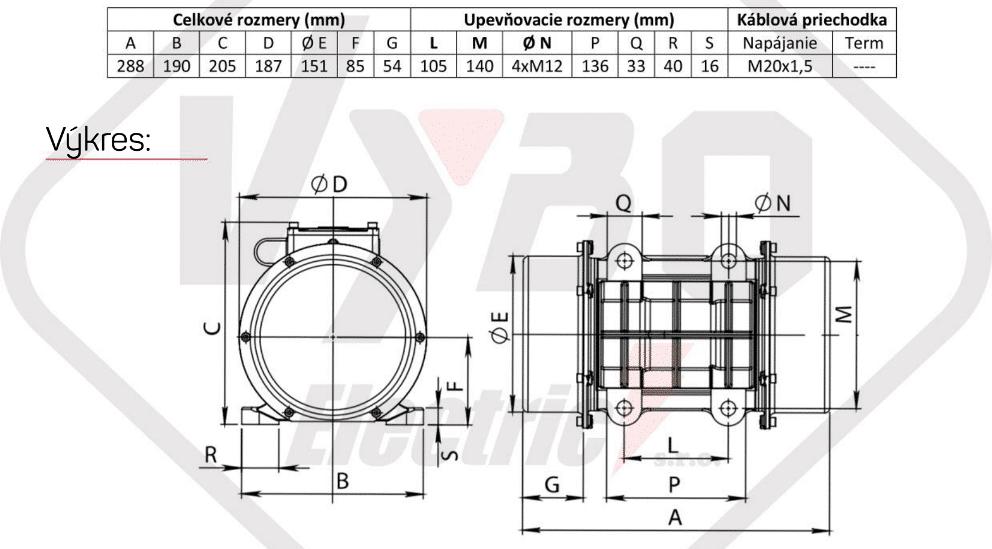 rozměry vibrační elektromotor BM650-3-V