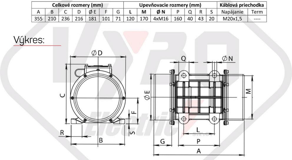 rozměry vibrační elektromotor BM850-3