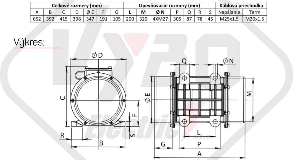 rozměry vibrační elektromotor BM9000-3