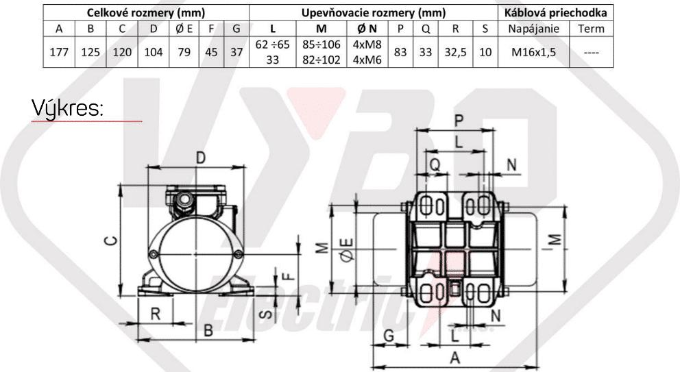 rozměry vibrační elektromotor BM95-3