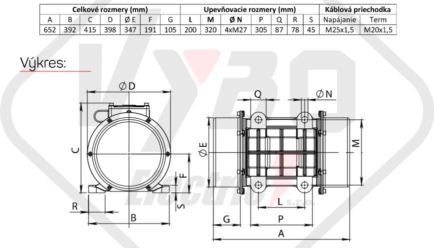 rozměry vibrační elektromotor BM7900-15