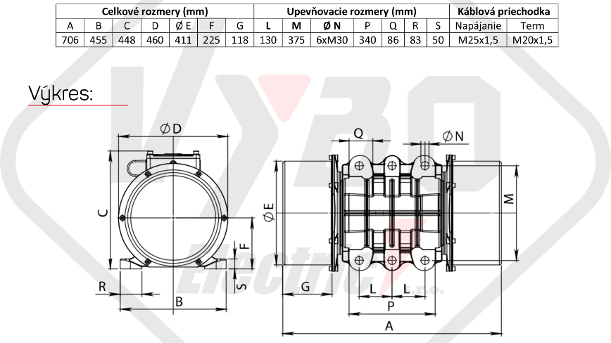 rozměry vibrační elektromotor BM8000-15