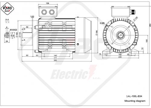 rozměrový výkres elektromotor 1AL-100L-B34