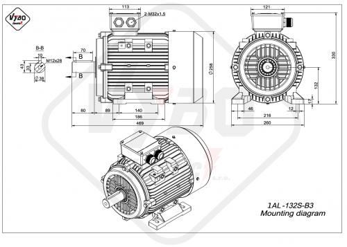 rozměrový výkres elektromotor 1AL-132S-B3