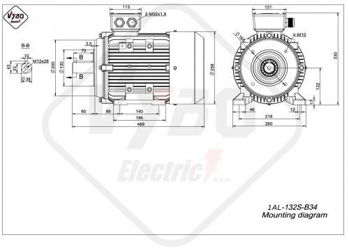 rozměrový výkres elektromotor 1AL-132S-B34