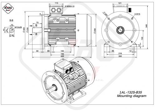rozměrový výkres elektromotor 1AL-132S-B35