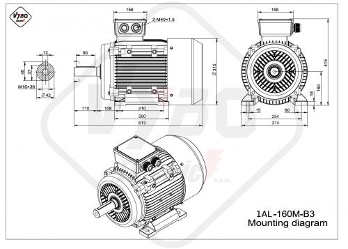 rozměrový výkres elektromotor 1AL160M-B3