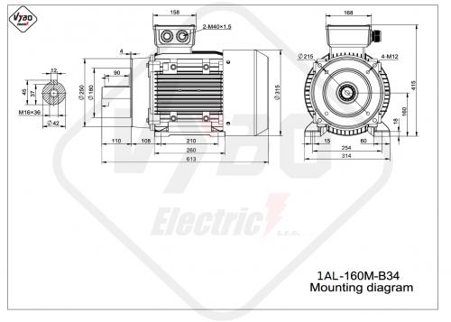 rozměrový výkres elektromotor 1AL160M-B34