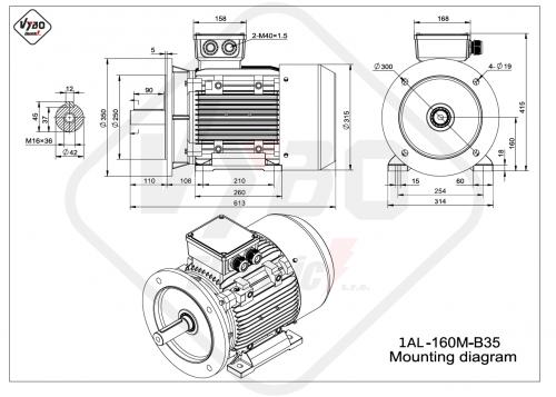 rozměrový výkres elektromotor 1AL160M-B35