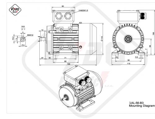 rozměrový výkres elektromotor 1AL-56-B3