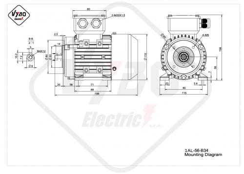 rozměrový výkres elektromotor 1AL-56-B34