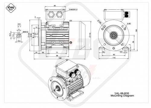 rozměrový výkres elektromotor 1AL-56-B35
