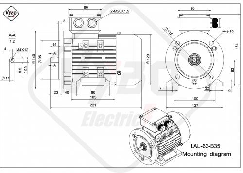 rozměrový výkres elektromotor 1AL-63-B35