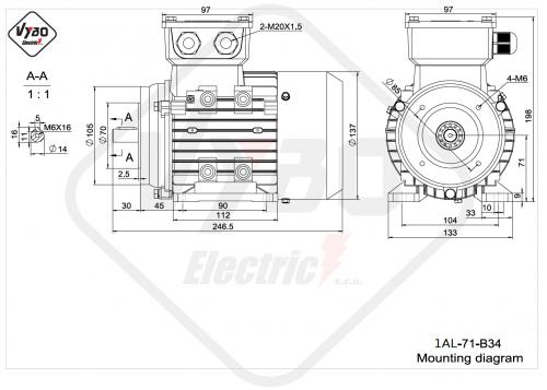 rozměrový výkres elektromotor 1AL-71-B34