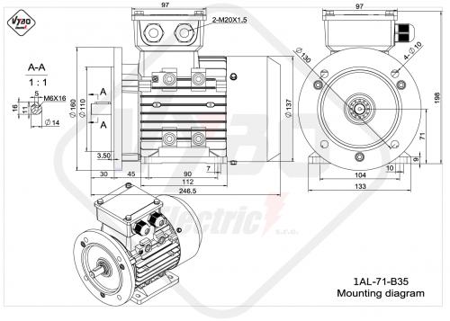 rozměrový výkres elektrmotor 1AL-71-B35