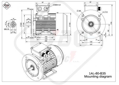 rozměrový výkres elektromotor 1AL-80-B35