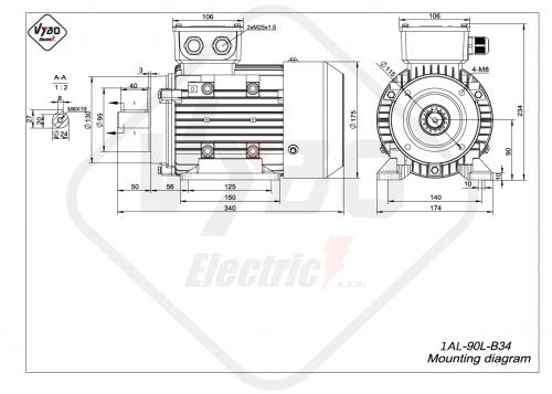 rozměrový výkres elektromotor 1AL-90L-B34