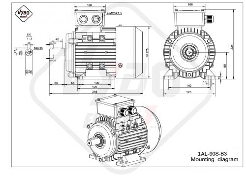 rozměrový výkres elektromotor 1AL-90S-B3